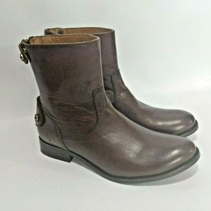Frye 7.5 Ankle Boots Leather Melissa Button Short